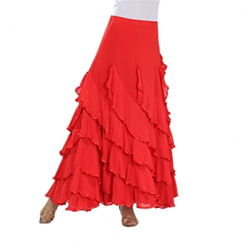 CISMARK Elegant Long Swing Ballroom Dancing Latin Dance Party Skirt(red)