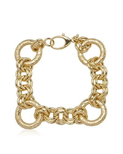 Bellavita Pulsera High Polish & Brushed Textured plata bañada en oro 18 ct
