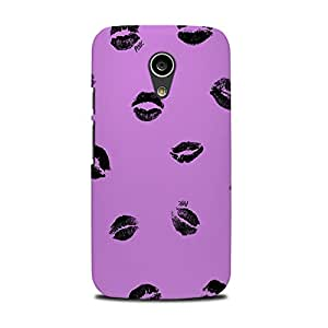 Mikzy Black Lips Printed Designer Back Cover Case for Moto G2 (Multicolour)