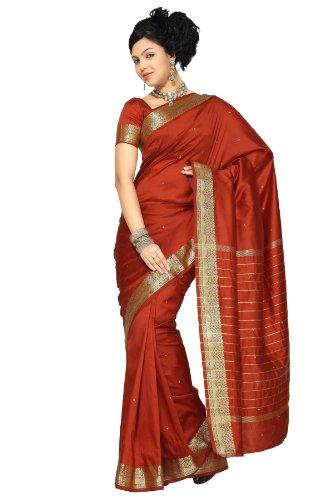 Indian Selections - Rust Art Silk Saree Sari fabric India Golden Border