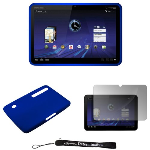 Blue - Soft Rubber Gel Silicone Skin Cover Case for Motorola XOOM Android Tablet (Verizon Wireless) * Includes Anti Glare Screen Protector Guard