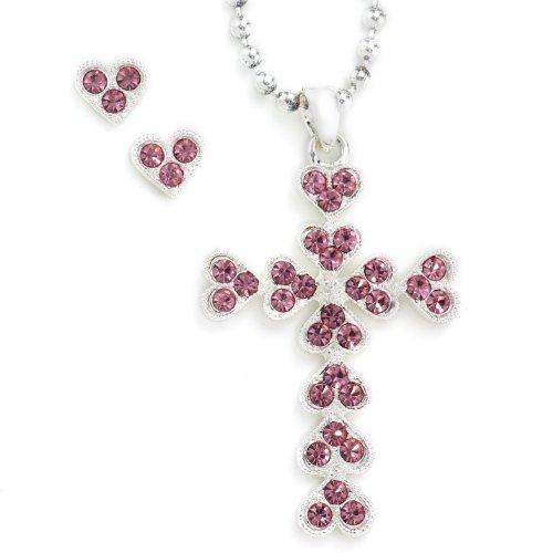 Western Edge Cross Pink Hearts Jewelry Set