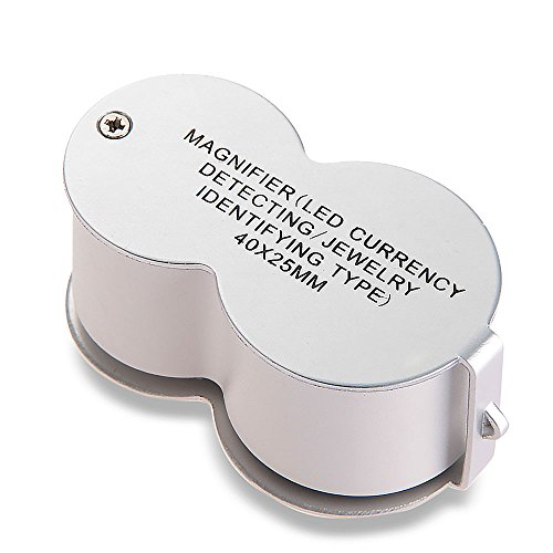 Jewelry 40X25 Eye Loupe Magnifier Magnifying Glass Currency Detecting Led Light