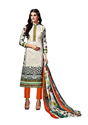 Aarushi Fashion Off White Colored Pure Lawn Cambric Printed Suit.