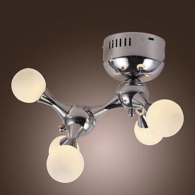 Forever 100W Artistic Flush Mount With 5 Lights In White Globe (G4 Bulb Base)