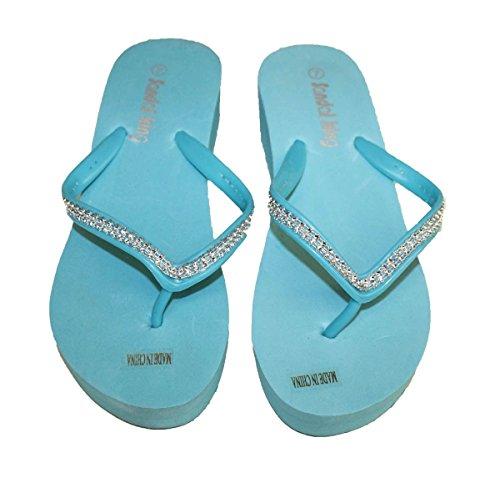 Womens Sandal Platforms Color Wedges Clear Rhinestone Straps Style Thongs New Aqua_8