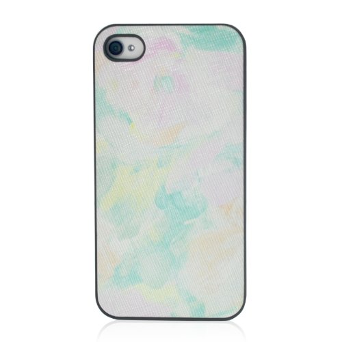 Oil Painting Flower Rubberized Case Cover - iPhone 4 4S