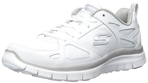 Scarpe Skechers Sport per uomo in pelle e sintetico bianco con memory foam, Wht, 43