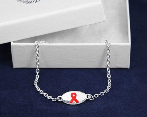 Red Ribbon Bracelet-Oval Charm (18 Bracelets)