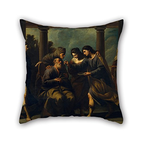 Uloveme Pillow Covers Of Oil Painting Andrea Vaccaro - Tobias Heals His Blind Father,for Wedding,father,wife,play Room,family,kids Boys 20 X 20