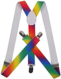 ORSKY Adjustable Braces for Mens with Strong Clips Y Shap Suspenders Rainbow