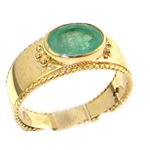 Luxury 9ct Yellow Gold Emerald English Solitaire Wedding Band Ring with Milgrain Edging - Size M - Finger Sizes L to Z Available - Perfect Gift for Mum, Wife, Daughter, Grandaughter, Grandma
