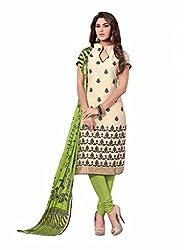 Style Amaze Chanderi Beige Dress Material