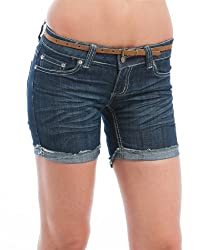 MOD 20 Women's Frayed Hem Belted Shorts Denim Medium 13(0287SHA)