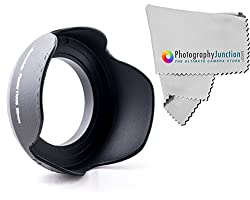 Sonia 55mm Screw on Tulip Shaped Flower Lens Hood + Free Photography Junction Premium Micro Fiber Cloth for SONY Alpha Series A99 A77 A65 A58 A57 A55 A390 A100 DSLR Cameras