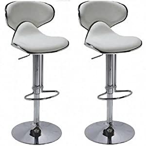 Tabouret de bar cuir blanc lot de 2 garantie 1 an amazon - Amazon tabouret de bar ...