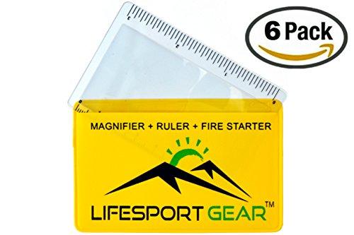 6 Pk Credit Card Fresnel Lens Pocket Magnifier Ruler Emergency Solar Fire Starter - Compact Plastic Magnifying Glass for Office