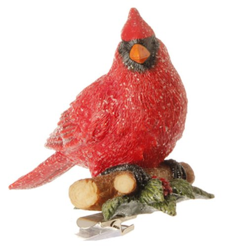Red Cardinal Bird Clip-on Christmas Tree Ornament, 3 Inches X 3.5 Inches