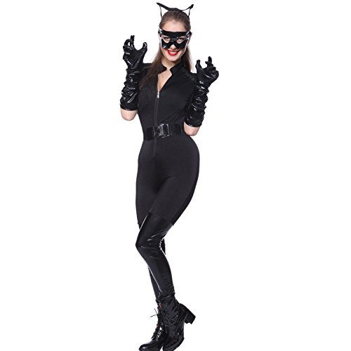 Sexy Dark Knight Catwoman Fancy Dress Catsuit Leotard Costume Zip up + eye mask, gloves - Standard Size