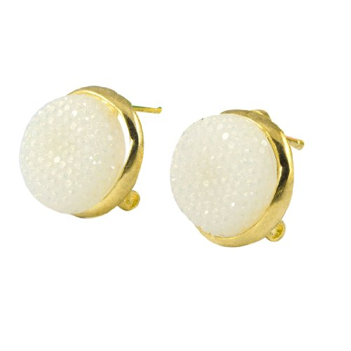 Rosallini Lady Pair White Round Shaped Plastic Gold Tone Studs French Clip Earrings