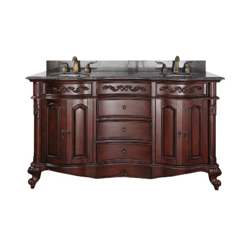 Avanity Provence-VS60-AC 60-Inch Vanity Set and Double Undermount Sinks Antique, Cherry