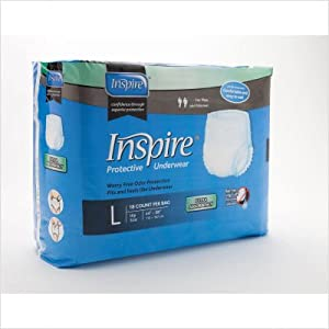 "Protective Underwear Size: Small/Medium, case of 80, hip size 30""-42"" by Inspire"