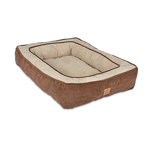 Precision Pet Chevron Chenille Gusset Low Bumper Floor Pillow, 27 by 36-Inch, Chocolate (Crate Bumper compare prices)