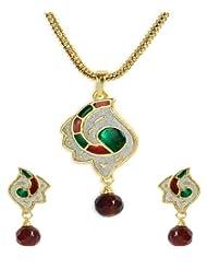 Shining Diva Red Green Enamel Drusy Pendant Necklace Set For Women