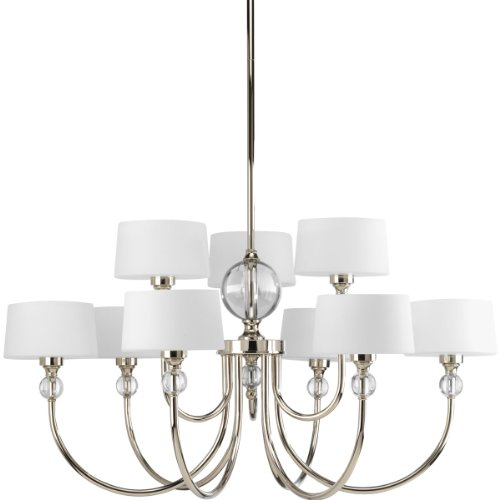 B007ZJWXHM Progress Lighting P4675-104 Fortune Collection 9-Light Chandelier, Polished Nickel