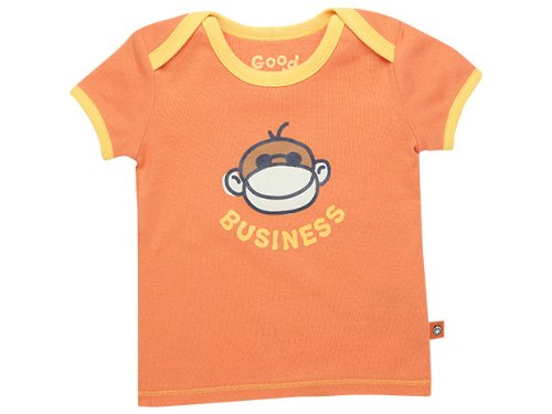 Life Is Good Baby Monkey Business Ringer Tee, Juicy Orange, 36