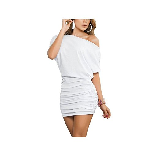 Gagnell Women Sexy Off Shoulder Short Sleeve Mini Pleated Dress WhiteSmall (Mccalls Chinese Sewing Pattern compare prices)
