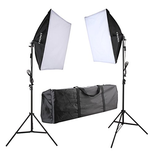 Craphy 5500k Photography Continuous Softbox Lighting Kit for Portrait Photography, Studio and Video Shooting (Light Stand, E27 Light Holder, 85w Lamp, Portable Bag)