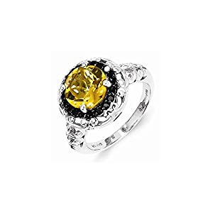 Sterling Silver Whiskey Quartz and Black Diamond Ring, Size 6, (0.2 ctw, I1-I2 Clarity), Rings for Women