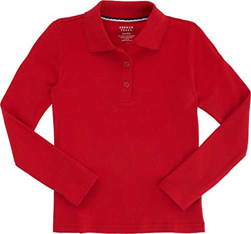 French Toast School Uniform Girls Long Sleeve Polo with Picot Collar, Large