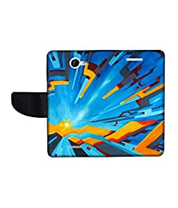 KolorEdge Printed Flip Cover For HTC Desire 516 -Multicolor (50KeMLogo10490HTC516)