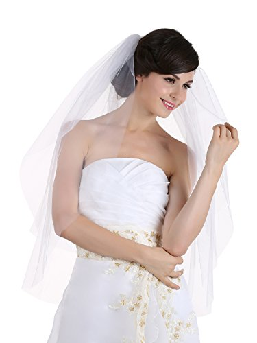 2T 2 Tier Cut Edge Bridal Wedding Veil - Ivory Fingertip Length 36