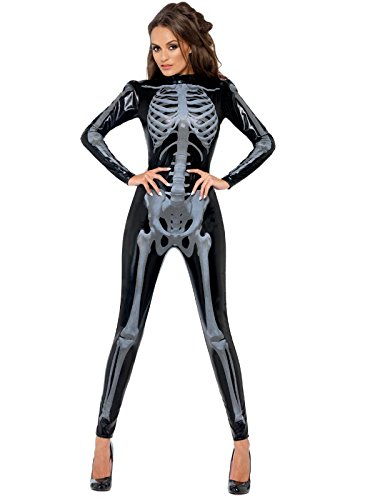 Fever Women's Skeleton Costume Catsuit with Cap Sleeves