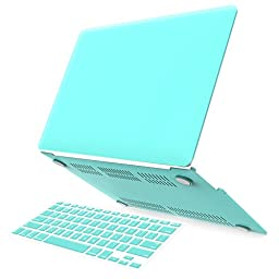 iBenzer Soft-Skin Plastic Hard Case and Keyboard Cover for Macbook Air 13-Inch, Turquoise