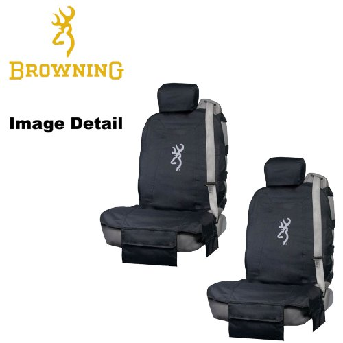 Browning Arms Company White Buckmark Brand Camo Logo Car Truck SUV Tactical Front Low Back Bucket Seat Covers with Headrest Covers - PAIR (Gear Tactical Seat Covers compare prices)