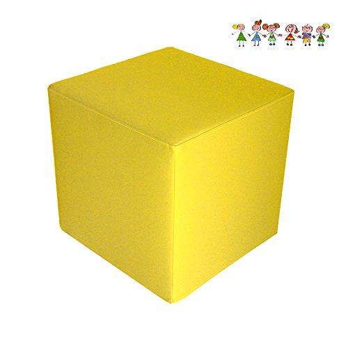 Arketicom BABY DADO, Puf Cubo Seduta per bambini in Ecopelle Martellata (Sfoderabile e Lavabile) e Poliuretano Giallo 25x25x25 cm
