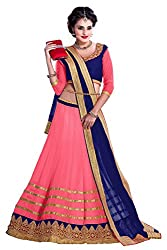 Bikaw Embroidered With Embellished Pink And Blue Georgette Traditional Wedding Wear Lehenga Choli Set. - Rasam Pink Lehenga