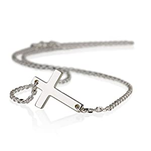 Silver Cross Pendant Necklace-Sideways Cross Necklace (14 Inches)