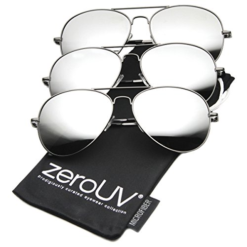 zeroUV - Premium Mirrored Aviator Top Gun Sunglasses w/