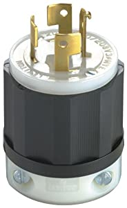 Leviton 7411-C 20-Amp, 120/208-Volt, 3PY, Locking Plug, Industrial Grade, Non-Grounding, Black-White