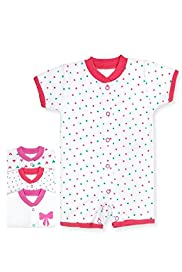 3 Pack Pure Cotton Star & Bow Print All-in-One