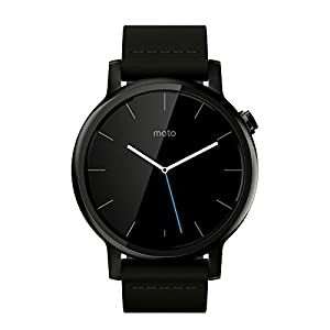Motorola Moto 360 Mens Large Smartwatch and Heart Rate/Activity Tracker with Bluetooth Connectivity Compatible with iPhones and Android Smartphones - Black Leather