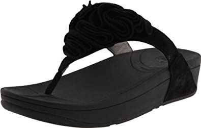 FitFlop Women's Frou Thong Sandal,Black,6 M US
