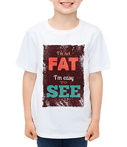 I'm Not Fat I'm Easy To See Kids Boys CLASSIC-T Crew neck T-Shirt Bianco Medium