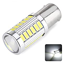See 25w CanBus Error Free Super Bright Projector Aluminum Heat sink Samsung 33 LED Light Bulbs Auto Replacement Lighting Dual Stage Stage White Car Turn Signal Brake Tail Parking Daytime Running Side Light Bulb 1157 BA15D L165 Details