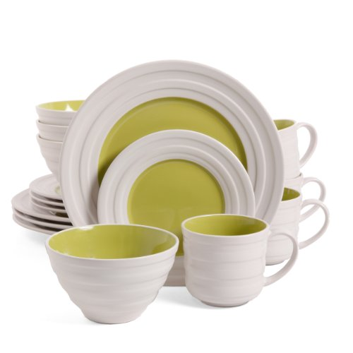 Isaac Mizrahi Caribbean Color 16-Piece Dinnerware Set, Kiwi